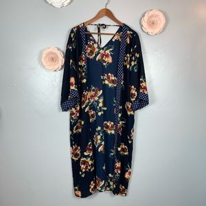 Band of Gypsies Navy Floral Duster Sz S M988